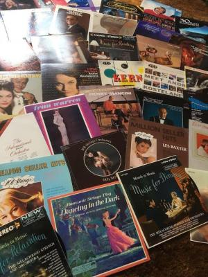 33 assorted records- Abba piano masterpieces 30, Jackie Gleason silken brass, million seller hits
