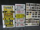 Hawkeye personal license plates, bumper stickers and schedule cards framed