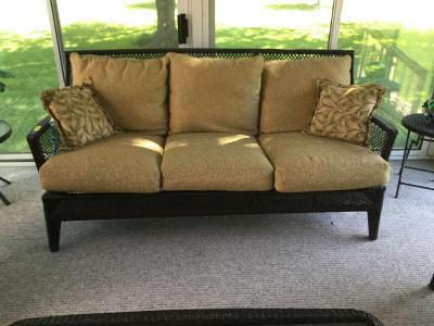Agio three cushion plastic wicker indoor/outdoor patio sofa
