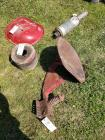Early Farmall h tractor seat one extra pan style tractor seat belt pulley and muffler