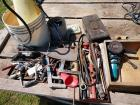 Various tools, fencing pliers, corn knives, oil cans, squares, bolt cutters, Makita offset grinder, brace & More