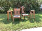 Two wooden chairs and 2 wooden stools