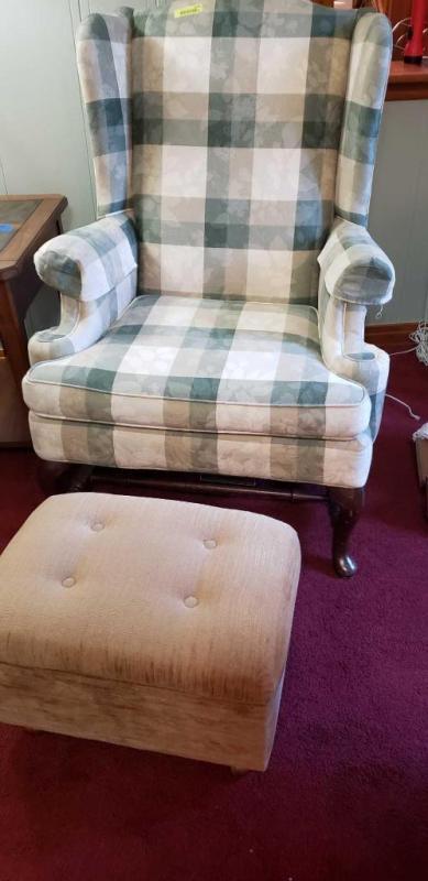 Phenomenal Plaid Wing Back Sitting Chair With Storage Ottoman Machost Co Dining Chair Design Ideas Machostcouk