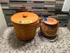 2 Longaberger baskets-one with wooden bail handle and the second is Tournament of Roses Pasadena