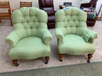 Matching light green super padded arm chairs From Ethan Allen