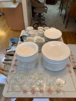 Kitchen items-dishes, ramikins, stemware, utensils, wine bottle opener and 2 silver serving platters