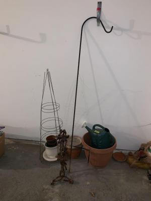 Yard items-vintage yard art, sprinkling can, tomato cages, flower pots, shepherds hook,