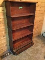"4 stack spindle trimmed Lawers bookcase with bottom storage drawer 34"" x 10"" x 60"""