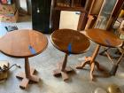 8 pieces of furniture-3 single pedestal round tables, 1 platform rocker, 1 antique sewing rocker, 2 pine straight chairs and a hard rock maple  wraparound chair with funky leg extensions