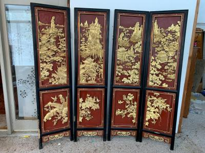 "Wooden 4 panel dressing screen Each panel Measures 18"" x 72"""