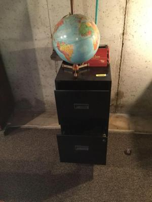 2 drawer letter file cabinet, globe, and 2 vintage Bissell sweepers