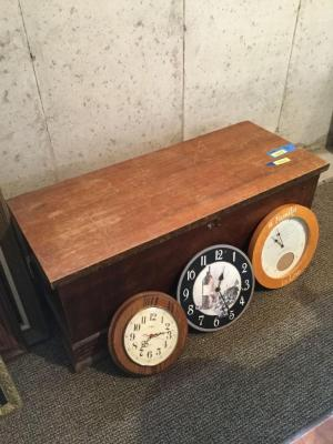 Cedar lined chest and 3 battery operated clocks Measures 44 x 18 x 18