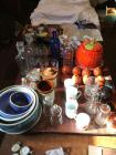 Glassware, cups & saucers, crock bowls, coffee mugs, Frankoma