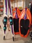Pair of Mastercraft water skis and 2 Hydroslide knee boards