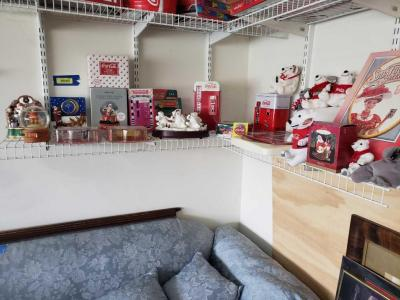 CocaCola items-ornament, stuffed bears, snow globes, clock, die cast, figurines, Barbie, and much more
