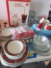 Quantity of CocaCola glassware-plates, bowls, glasses, S&P shakers, coffee mugs, flatware
