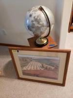Square top side table, globe and Midwestern print Table measures 12 x 12 x 19 and picture measures 26 x 22
