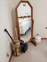 "57"" tall swivel floor mirror, umbrella stand and contents, flower vase w lid and women's wash pail w floral design"