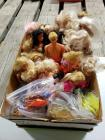 Box of Barbie dolls and other fashion dolls