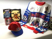 Richard Petty signed STP shirt and cap, framed image of the King, Richard Petty Hallmark Keepsake ornament and Racing Champions Richard Petty stock car/collector card/stand