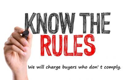 Please follow the rules - We may charge buyers who do not follow our terms.
