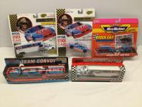 Richard Petty collector cars-1:43 stock car with pullback action, 1:87 team transport semi, Matchbox team transporter, Matchbox team convoy and MicroM