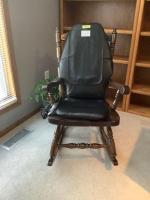 Ladderback rocking chair with Homedics massaging chair pad