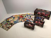 5 NASCAR comic books, 3 Racing Champions 1:43 die cast cars and 1 Racing Champions 1:24 die cast car† All cars are NIB