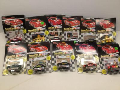 Racing Champions 1:64 die cast stock cars with collectors card and display stand