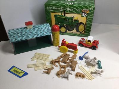 John Deere 4010 High crop 1/16th scale NIB,† tin barn and silo with accessories