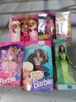August birthstone Barbie, Paintín Dazzle Barbie, Teen Skipper, Teen Talk Barbie, Costume Ball Barbie and 1988 Barbie doll case