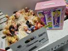 Box FULL of fashion dolls and 1988 Barbie trunk