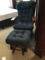 Blue upholstered oak glider rocker with glider ottoman