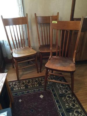 Three ash spindle back straight chairs