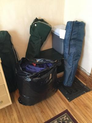 3 folding bag chairs, large Coleman cooler, small single handle cooler and queen size feather comforter