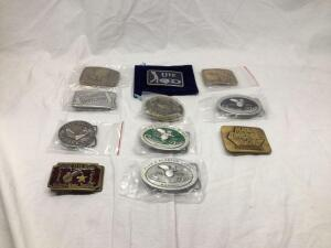 11 belt buckles-be sure to see all photos-some of these buckles are commemorative!