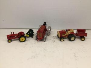 Tonka garden tractor with cart, Massey Harris tractor, Arts Way mixer mill and cat iron firefighters tractor