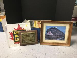 Railroad related books, 2 pieces Wabash Railroad wall art and Canadian National Railways cardboard poster