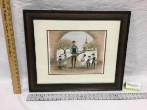 "Framed Signed/Numbered P Buckley Moss ""Our Favorite Teacher"", Number 163 of 1000. Measures 11 1/2 x 19 1/2"
