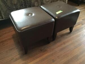 Matching Pier 1 100% leather ottomans