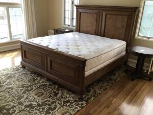 King size bed with Beauty Rest World Class Georgetown plush firm mattress and split box twin includes headboard, footboard, and side rails