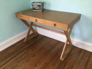 Arteriors library table with middle drawer (missing one faux pull) measures 47 x 24 x 29