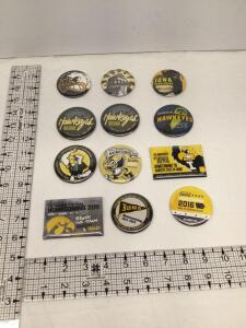 12 University of Iowa Homecoming badges 2002, 2003, 2005, 2006 (2 of the same), 2007, 2008, 2009, 2010, 2011, 2012 and 2016