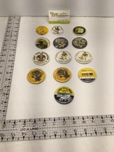 13 University of Iowa homecoming badges-1969, 1971, 1974, 1975, 1977, 1978, 1979, two identical 1980, two identical 1981, 2016 and 2017