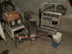 Live traps, rabbit feeders, dog kennel, water dispenser