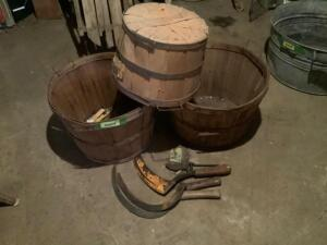 3 bushel baskets and 3 scythes