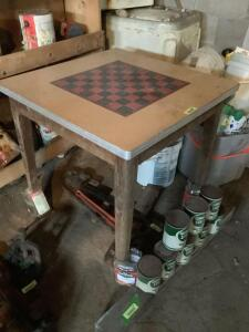 30 square table with checkerboard top and wooden base