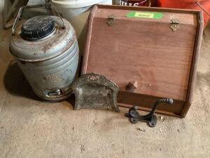 Vintage wooden bread box, crumb sweeper, coat hook and old thermos