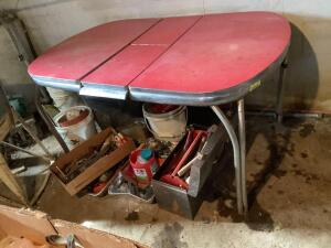 Vintage enamel dining table with red top-measures 36 x 38 x 30 with 12 leaf Legs are good, table is in great shape!