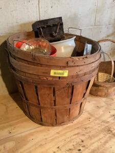 3 bushel baskets, flower pots and 2 other baskets